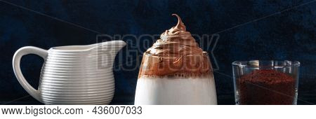 Dalgona Cold Coffee Recipe Panorama. Sweet Korean Frothy Drink Of Instant Coffee And Cream