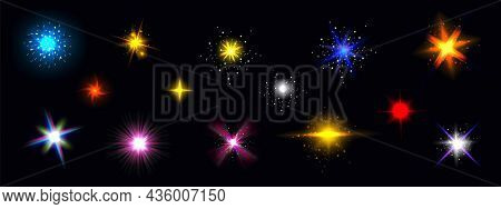 Star Light Glow, Shiny Colorful Vector Glare, Bright Twinkle Or Explosion Effect With Radiant Beams.