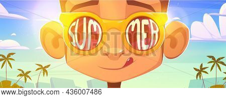 Monkey Face In Sunglasses With Summer Word Reflection On Glasses Surface. Funny Cartoon Ape Characte