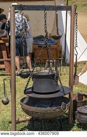 Eungella, Queensland, Australia - October 2021: Cooking Equipment Replicas Used By Medieval Vikings