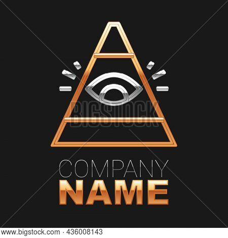 Line Masons Symbol All-seeing Eye Of God Icon Isolated On Black Background. The Eye Of Providence In