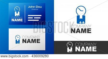 Logotype Carton Cardboard Box And Fast Time Delivery Icon Isolated On White Background. Box, Package