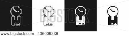 Set Carton Cardboard Box And Fast Time Delivery Icon Isolated On Black And White Background. Box, Pa