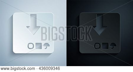 Paper Cut Carton Cardboard Box Icon Isolated On Grey And Black Background. Box, Package, Parcel Sign