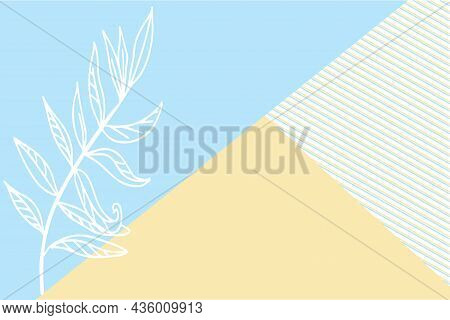 Floral Decor, Branch Of Plant From Above On Colored Paper, Patchwork Background. Vector Illustration