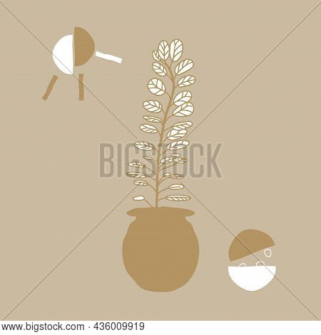 Abstract Trending Sketch Morning, Breakfast On Table, Sun. Vector Drawing In Oriental Style, Quick D
