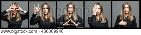 A Young Woman Shows Masonic Symbols With Her Hands. Beautiful Blonde In A Black Shirt. Signs And The