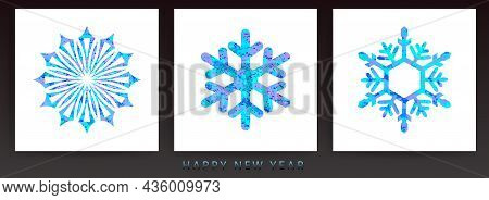 Christmas Snowflakes With Textured Effect, Isolated Design Component, Set.