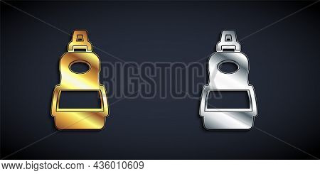 Gold And Silver Dishwashing Liquid Bottle Icon Isolated On Black Background. Liquid Detergent For Wa