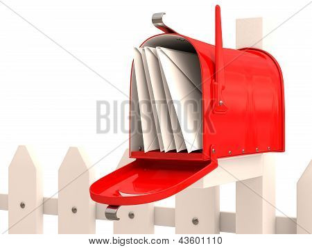 Red Mailbox With Mail On Fence. 3D Render