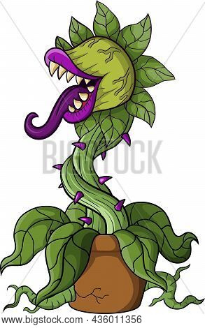 Vector Illustration Of Cartoon Scary Carnivorous Plant On White Background
