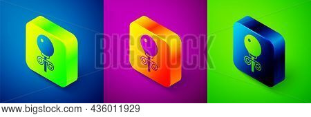 Isometric Stud Earrings Icon Isolated On Blue, Purple And Green Background. Jewelry Accessories. Squ