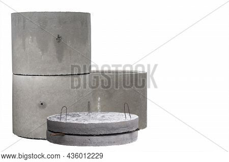 Samples Of Reinforced Concrete Products For Walls And Sewers Isolated On A White Background With Cop