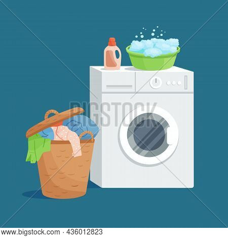 Home Laundry Concept. Washing Machine, Soap Foam Basin, Laundry Detergent And Wicker Basket With Dir