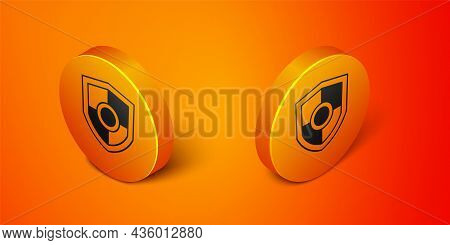 Isometric Shield Icon Isolated On Orange Background. Guard Sign. Security, Safety, Protection, Priva