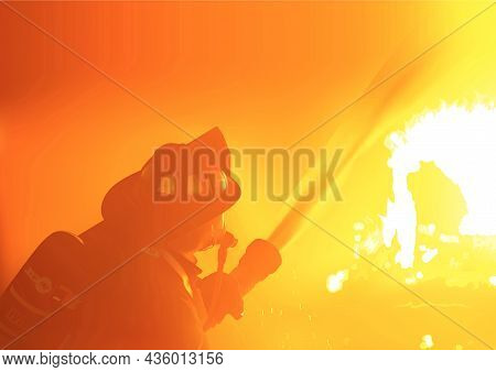 Background With Fireman Spray Water To Wildfire - Photorealistic And Detailed Illustration In Orange