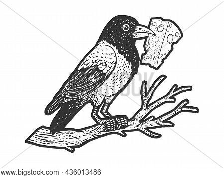 Fable Crow With Cheese In Its Beak Sketch Engraving Vector Illustration. T-shirt Apparel Print Desig