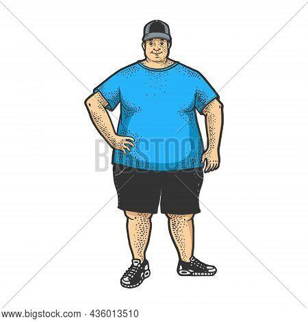 Fat Huge Overweight Man Color Sketch Engraving Vector Illustration. T-shirt Apparel Print Design. Sc