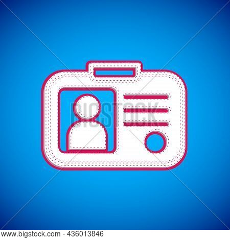 White Taxi Driver License Icon Isolated On Blue Background. Vector