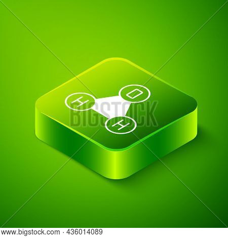 Isometric Chemical Formula For Water Drops H2o Shaped Icon Isolated On Green Background. Green Squar