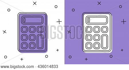 Set Calculator Icon Isolated On White And Purple Background. Accounting Symbol. Business Calculation