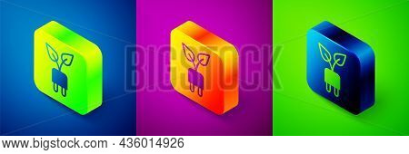 Isometric Electric Saving Plug In Leaf Icon Isolated On Blue, Purple And Green Background. Save Ener