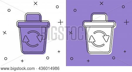 Set Recycle Bin With Recycle Symbol Icon Isolated On White And Purple Background. Trash Can Icon. Ga