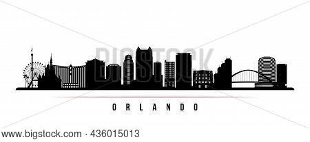 Orlando Skyline Horizontal Banner. Black And White Silhouette Of Orlando, Florida. Vector Template F