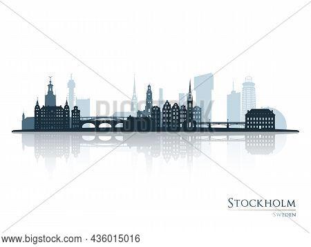 Stockholm Skyline Silhouette With Reflection. Landscape Stockholm, Sweden. Vector Illustration.