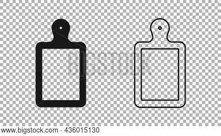 Black Cutting Board Icon Isolated On Transparent Background. Chopping Board Symbol. Vector