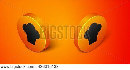 Isometric Chef Hat Icon Isolated On Orange Background. Cooking Symbol. Cooks Hat. Orange Circle Butt