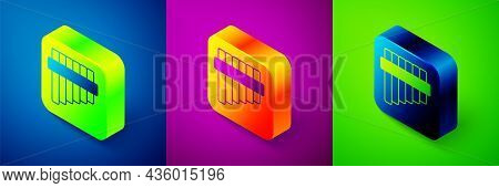 Isometric Pan Flute Icon Isolated On Blue, Purple And Green Background. Traditional Peruvian Musical