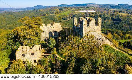 Andelska Hora Castle. Aerial view to gothic landmark near Karlovy Vary. Czech Republic, Central Europe.