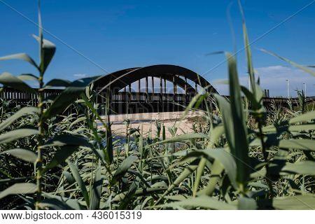 View of the wooden Lombard Bridge in Labruge, Vila do Conde, Portugal.