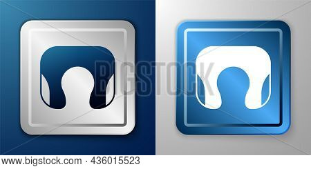 White Travel Neck Pillow Icon Isolated On Blue And Grey Background. Pillow U-shaped. Silver And Blue