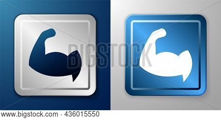 White Bodybuilder Showing His Muscles Icon Isolated On Blue And Grey Background. Fit Fitness Strengt