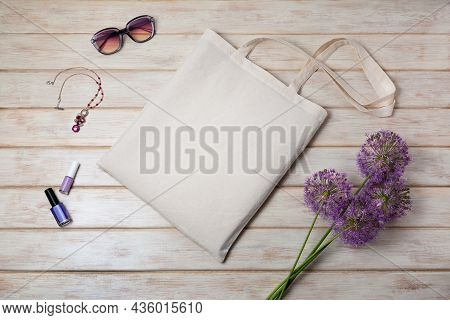 Canvas Tote Bag Mockup With Allium Purple Flowers And Sunglasses. Rustic Linen Shopper Bag Mock Up F