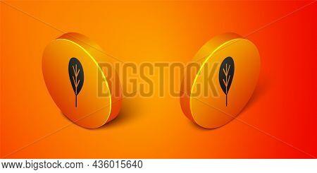 Isometric Leaf Icon Isolated On Orange Background. Leaves Sign. Fresh Natural Product Symbol. Orange