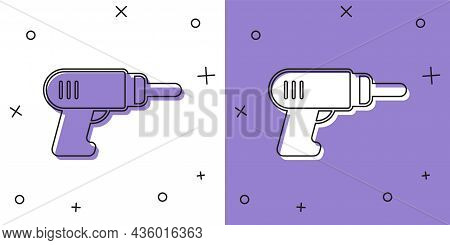 Set Electric Drill Machine Icon Isolated On White And Purple Background. Repair Tool. Vector