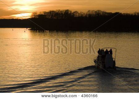 Yacht Driving Into Sunset