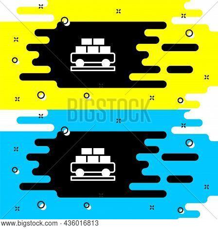 White Cargo Train Wagon Icon Isolated On Black Background. Full Freight Car. Railroad Transportation
