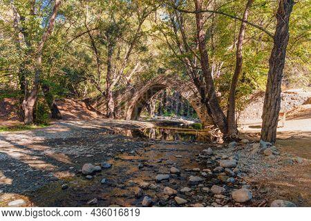 Kelefos, Medieval Venetian stone bridge. Paphos District, Cyprus
