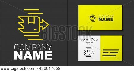 Logotype Line Carton Cardboard Box Icon Isolated On Grey Background. Box, Package, Parcel Sign. Deli