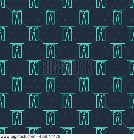 Green Line Drying Clothes Icon Isolated Seamless Pattern On Blue Background. Clean Pants. Wash Cloth