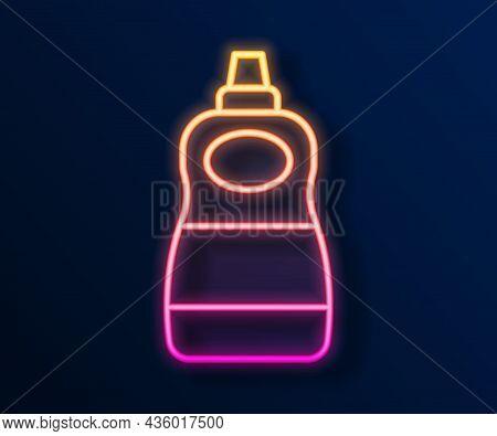 Glowing Neon Line Dishwashing Liquid Bottle Icon Isolated On Black Background. Liquid Detergent For