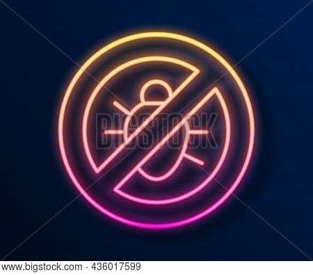 Glowing Neon Line Stop Colorado Beetle Icon Isolated On Black Background. Vector