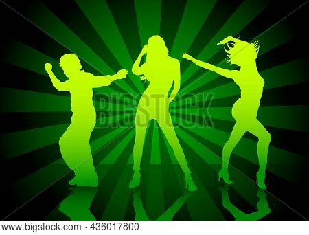 Dance Party Background With Dancing People Over Shiny Background With Light Rays - Colored Illustrat