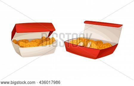 Fried Chicken Meat In Boxes Set. Tasty Crispy Drumsticks And Fillet, Fast Food Dish Cartoon Vector I