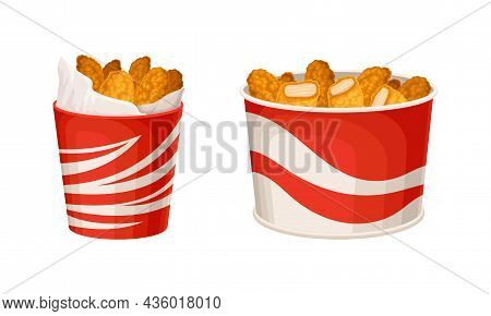 Fried Chicken Meat Set. Crispy Wings, Legs And Nuggets In Baskets Cartoon Vector Illustration