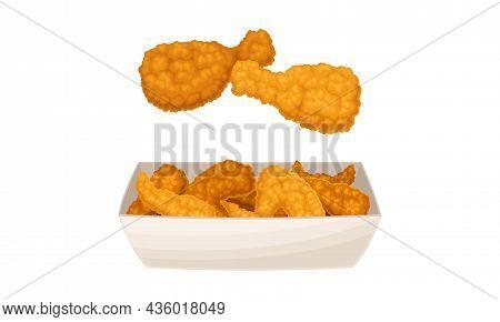 Fried Chicken Meat Set. Tasty Crispy Wings And Legs Fast Food Dish Cartoon Vector Illustration